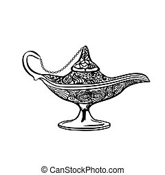oil lamp icon, hand drawn vector illustration.