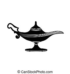 oil lamp icon - Black silhouette of oil lamp icon, hand...
