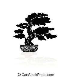 Bonsai silhouette over a white background. Vector...