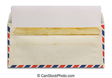 open old airmail envelope with blank letter isolated on...