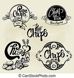 Vector set of potato chips labels, design elements. Isolated logo illustration in vintage style.