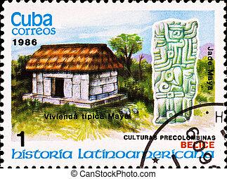 Franqueo, estampilla, exposiciones, ejemplo, maya, cultura