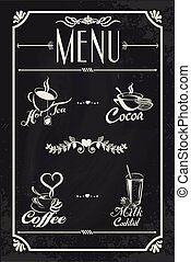 Restaurant drink menu design with chalkboard background....