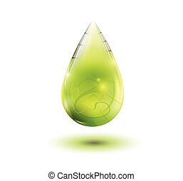 Olive oil drop on white background. Vector eps 10