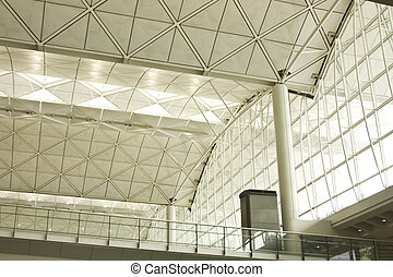 Steel roof structure in the hongkong airport, hongkong,...