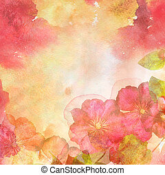 Abstract spring background with flowers - Watercolor...