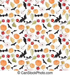 Seamless Halloween pattern with pumkins and bats on white....