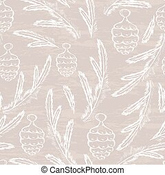 Pine cone seamless pattern. Hand drawn design for Christmas...