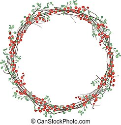 Round Christmas wreath with holly branches isolated on white...