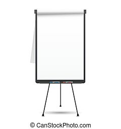 Blank flip chart. Whiteboard and empty paper, presentation...
