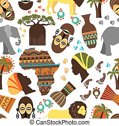 Africa seamless pattern Baobab and nationality tribe mask,...