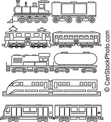 Line art train icons Transportation and travel, vehicle...