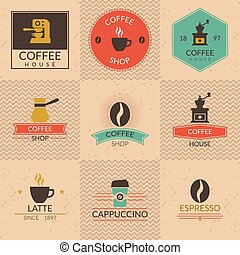 Coffee shop badges. Shop label, cafe and cup, retro vintage...