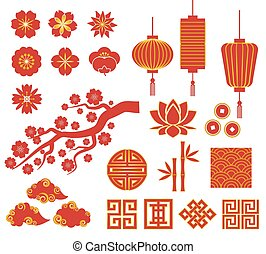 Chinese, Korean or Japan icons for Chinese New Year -...