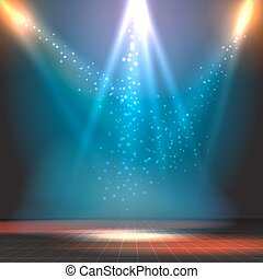 Show or dance floor vector background with spotlights Party...
