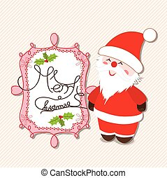 merry christmas label with santa claus