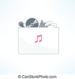 Vector music folder icon in modern flat design. Clean and simple musical design element