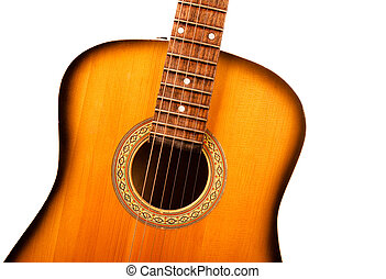 acoustic guitar central part closeup isolated on white