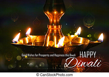 Golden diya stand on abstract Diwali background -...