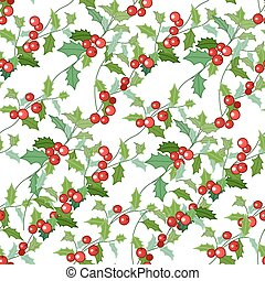 Seamless Christmas pattern with holly branches and berries. For season design, announcements, postcards, posters.