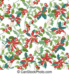 Seamless pattern with holly branches and Christmas star flowers. For season design, announcements, postcards, posters.