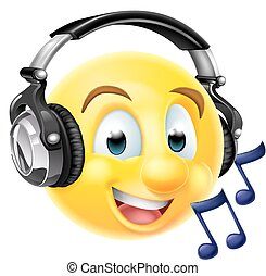 Music Emoji Emoticon Wearing Headphones - An emoticon emoji...