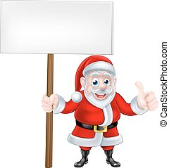 Thumbs Up Santa Sign - Cartoon Santa Claus holding a sign...