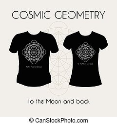 Cosmic Geometry T-Shirt - Cosmic Geometry Vector template...