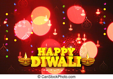 Diwali Holiday background - illustration of burning diya on...
