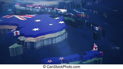 4K Australia - Asia flag Map - 4k Pan from Australia up to...