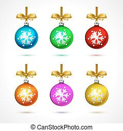 Christmas  balls with snowflakes, isolated on white background vector