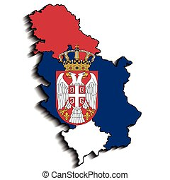 Serbia - Illustration map of Serbia and emblem of Serbia as...