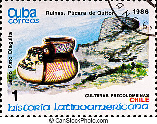 postage stamp shows example Chile culture - CUBA - CIRCA...