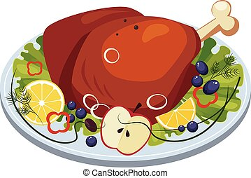 Roasted Turkey Ham with Vegetables and Apples on a Dish....