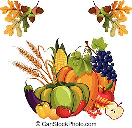 Harvest of Vegetables and Fruits, with Autumn Leaves, Vector