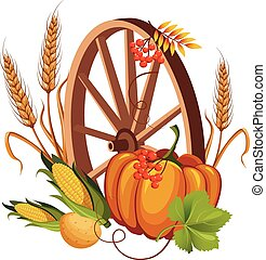 Wheel with Vegetables and Stalks Vector Illustrations