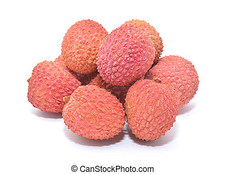 lychee - litchi fruits isolated on white