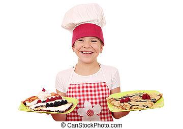 placa, poco,  Crepes, cocinero, niña, feliz