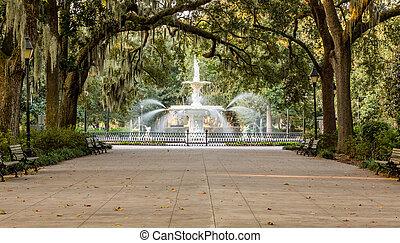 Forsyth Fountain Under Oaks - Walkway under southern oaks...
