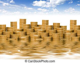 藍色, 黃金, 硬幣, 天空, 針對