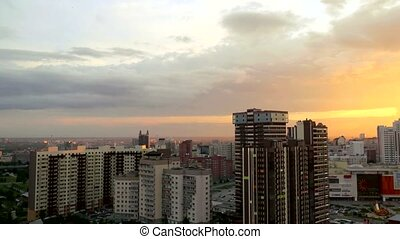 Timelapse of Beautiful sunset over the big city Novosibirsk...