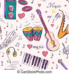 Seamless pattern with music instruments. - Seamless pattern...