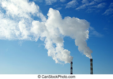 global warming - Power plant with smoke under sky