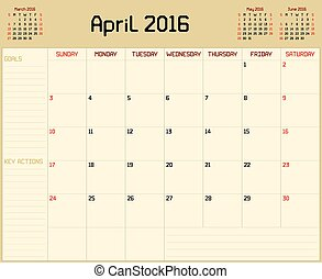 Year 2016 April planner - A monthly planner calendar for...