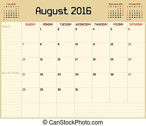 Year 2016 August Planner - A monthly planner calendar for...
