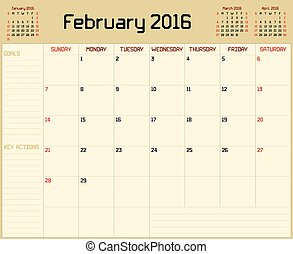 Year 2016 February planner - A monthly planner calendar for...