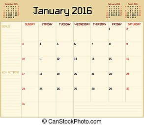 Year 2016 January planner - A monthly planner calendar for...