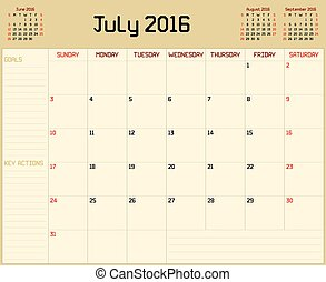 Year 2016 July planner - A monthly planner calendar for July...