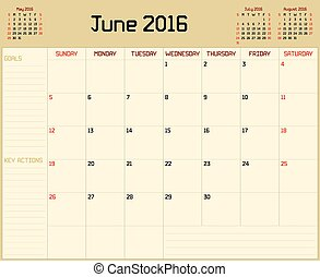 Year 2016 June planner - A monthly planner calendar for June...