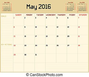 Year 2016 May planner - A monthly planner calendar for May...